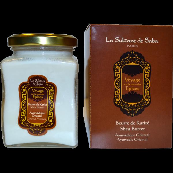 Beurre de karité ambre vanille patchouli du voyage ayurvédique de la Sultane de Saba